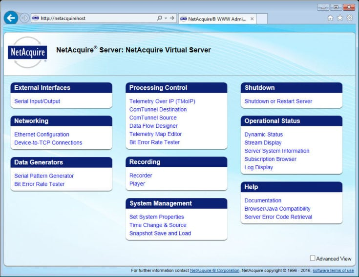 NetAcquire Virtual Server Web Interface